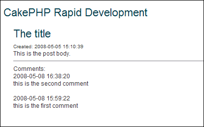 CakePHP view blog post